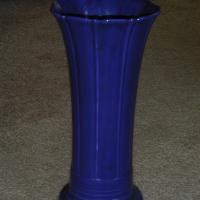 "vintage fiestaware 12"" cobalt vase circa 1936"