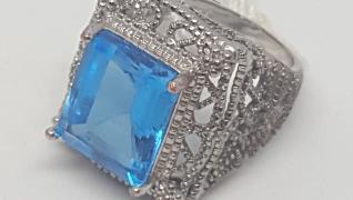 925 Topaz Filigree Cocktail Ring