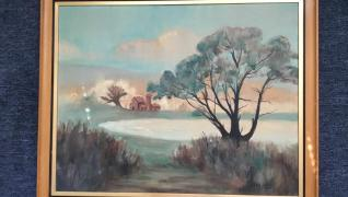 Artist Mr. Justo J. Juliano Small Farm With Tree1960 painting in oil paint/watercolors light wood curved with metal black inlay frame
