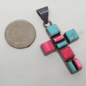 925 Silver Turquoise Cross Pendant