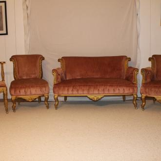 vintage pink velvet 4 piece furniture set