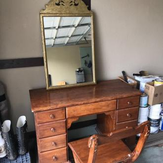 Vanity with chair and matching mirror (painted)