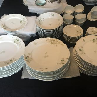 A. Lanternier Limoges France 2507 green and white floral place settings