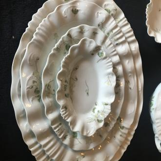 A. Lanternier Limoges France - green and white floral platters