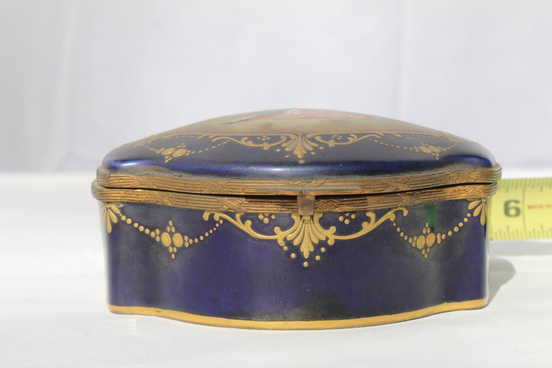 sevres porcelain cobalt blue jewelry box trinket case circa 1930