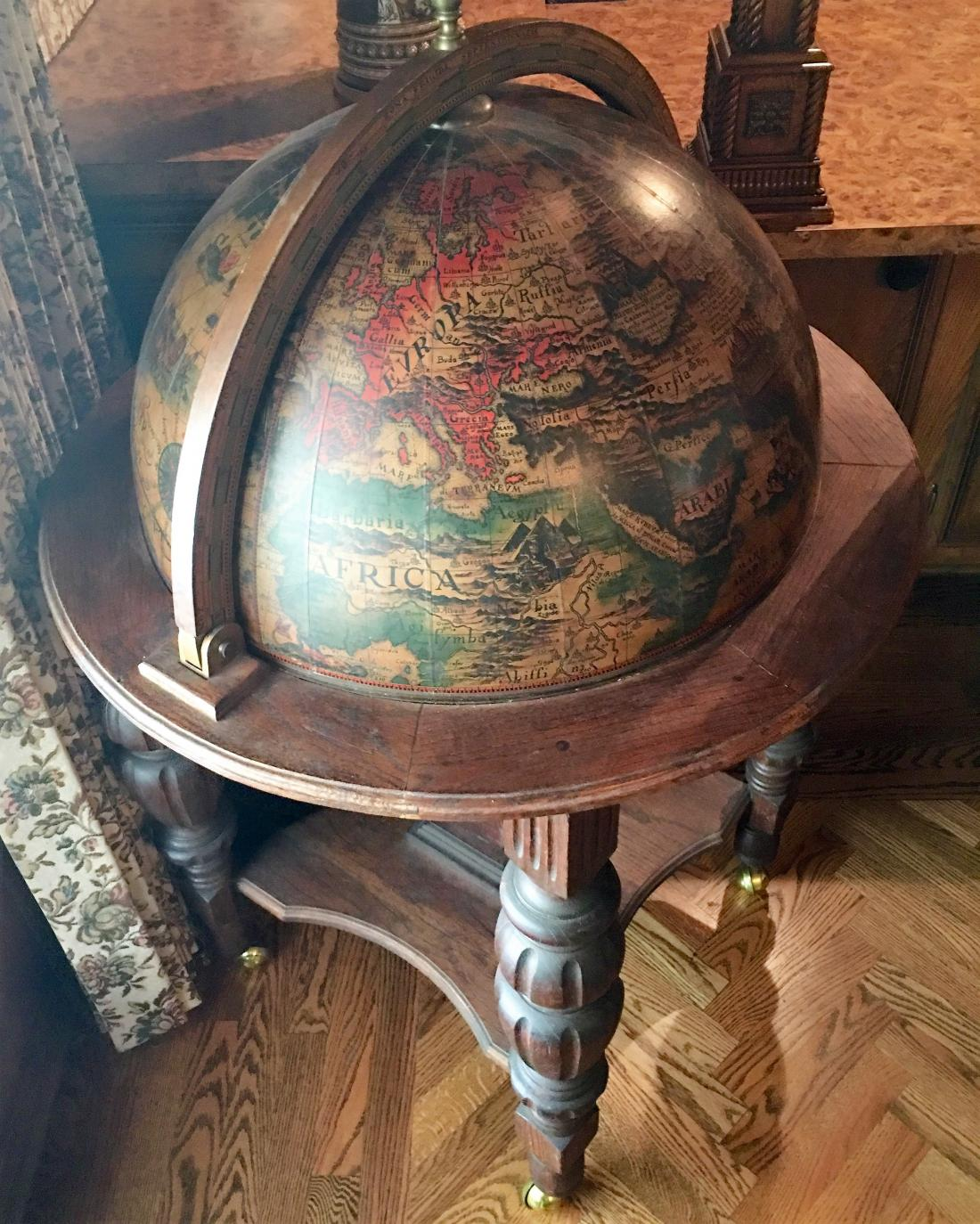 Authentic Antique Italian Globe Bar Cart