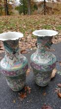 3 feet tall chinese palace vases  enameled horses and samurai warriors in pastel colors circa 1800
